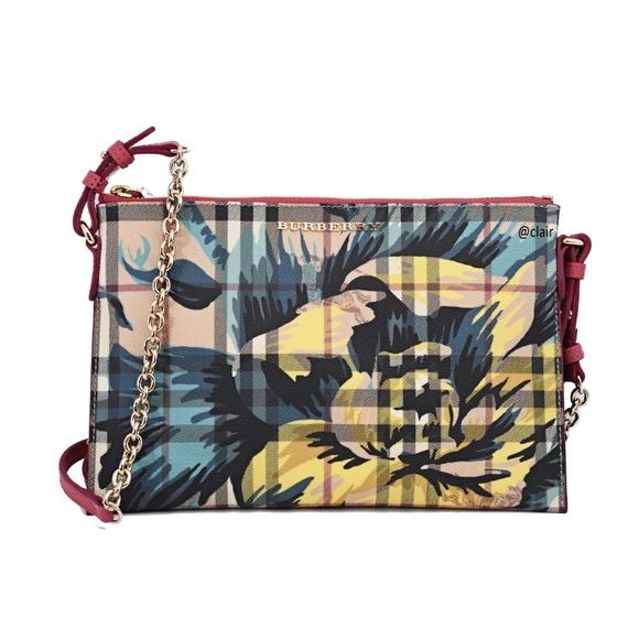 a8aee23a41 Burberry Bags | Peyton Flower Print Check Cross Body Bag | Poshmark